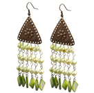 Vintage Tassel Style Light Green Pearl Square Shape Shell Dangle Earrings