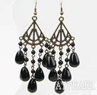 Wholesale Vintage Style Big Drop Shape Black Agate Earrings