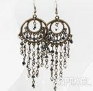 Wholesale Black and Gray Crystal Tassel Earrings