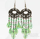 Long Style Grass Green Manmade Crystal Earrings