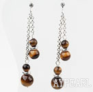Wholesale Dangle Style Round Tiger Eye Earrings with Metal Chain