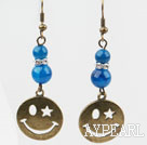 Vintage Style Round Blue Agate Earrings with Bronze Smile Face Accessories