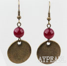 Wholesale Vintage Style Rose Pink Earrings with Bronze Round Accessories