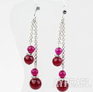 Wholesale Dangle Style Rose Pink Agate Earrings with Metal Chain