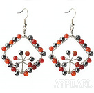 New Style Fashion Design Rhombus Shape Carnelian and Hematite Earrings
