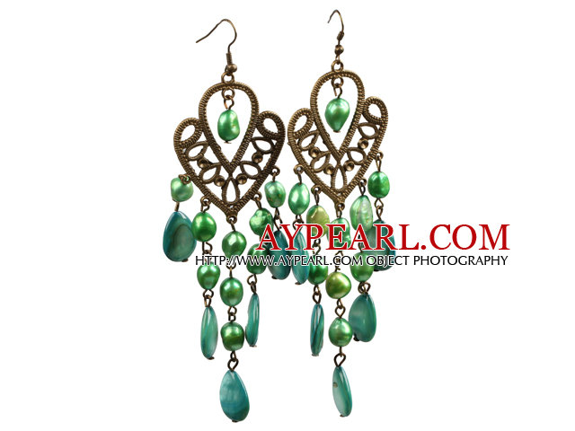 Vintage Style Chandelier Shape Green Pearl Drop Shell Long Dangle Earrings