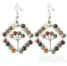 New Style Fashion Design Rhombus Boucles d'oreilles en agate de forme indiennes