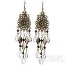 Vintage Style Heart Shape Clear Crystal Dangle Earrings
