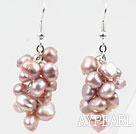 Wholesale Cluster Style Natural Purple Freshwater Pearl Earrings