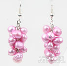 Wholesale Cluster Style Dyed Pink Freshwater Pearl Earrings