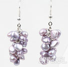 Wholesale Cluster Style Violet Purple Freshwater Pearl Earrings