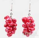 Cluster Style Dyed Watermelon Red Freshwater Pearl Earrings