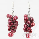 Cluster Style Dyed Wine Red Freshwater Pearl Earrings
