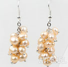 Wholesale Cluster Style Dyed Beige Color Freshwater Pearl Earrings