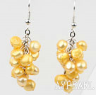 Cluster Style Dyed Bright Yellow Freshwater Pearl Earrings