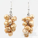 Wholesale Cluster Style Dyed Golden Champagne Color Freshwater Pearl Earrings