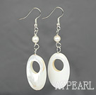 Simple Style White Freshwater Pearl And Hollow Shell Dangle Earrings With Fish Hook