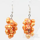 Wholesale Cluster Style Dyed Orange Yellow Color Freshwater Pearl Earrings