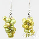 Wholesale Cluster Style Dyed Yellow Green Color Freshwater Pearl Earrings
