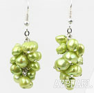 Cluster Style Dyed Grass Green Color Freshwater Pearl Earrings