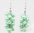 Cluster Style Dyed Light Green Color Freshwater Pearl Earrings