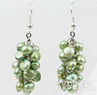 Cluster Style Dyed Olive Green Color Freshwater Pearl Earrings