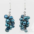 Cluster Style Dyed Steel Blue Color Freshwater Pearl Earrings
