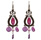Vintage Style Chandelier Shape Purple Pearl Shell Earrings With Drop Shape Bronze Accessory