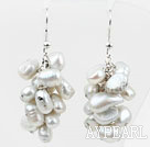 Cluster Style Dyed White Gray Color Freshwater Pearl Earrings