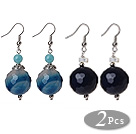 Wholesale 2 Pcs Classic Design Blue Faceted Agate Ball And Blue Jade And White Sea Shell Earrings