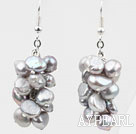 Cluster Style Dyed Light Gray Color Freshwater Pearl Earrings