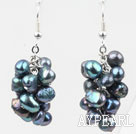 Cluster Style Dyed Black Freshwater Pearl Earrings