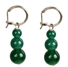 Beautiful Long Style Graduated Green Agate Beads Dangle Earrings