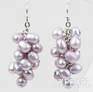 Wholesale Cluster Style Light Purple Top Drilled Freshwater Pearl Earrings