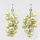 Wholesale Cluster Style Light Yellow Color Top Drilled Freshwater Pearl Earrings