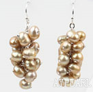 Wholesale Cluster Style Champagne Color Top Drilled Freshwater Pearl Earrings