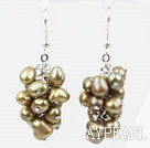 Cluster style Light Brown Top forés Boucles d'oreilles perles d'eau douce