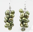 Wholesale Cluster Style Olive Green Color Top Drilled Freshwater Pearl Earrings