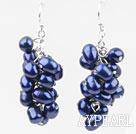 Cluster Style Dark Blue Color Top Drilled Freshwater Pearl Earrings