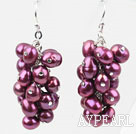 Wholesale Cluster Style Purple Red Color Top Drilled Freshwater Pearl Earrings