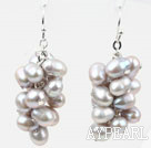 Cluster Style Light Gray Color Top Drilled Freshwater Pearl Earrings