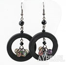 Wholesale Donuts Shape Black Stone and Multi Color Crystal Earrings