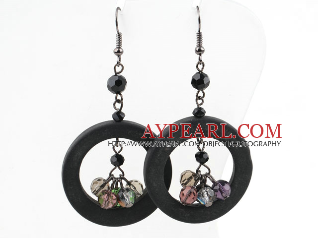 Donuts Shape Black Stone and Multi Color Crystal Earrings
