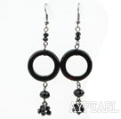 Wholesale Donuts Shape Black Agate and Black Crystal Dangle Earrings