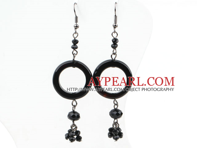 Donuts Shape Black Agate and Black Crystal Dangle Earrings