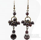 Vintage Style Assorted Garnet Dangle Earrings