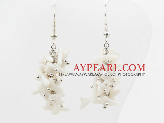 Cluster Style Branch Shape White Devil Coral Earrings
