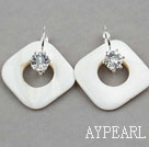 Rhombus Shape White Shell Earrings with Rhinestone