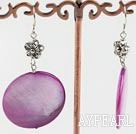 dyed purple shell earrings