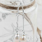 Klassisk design Dangle Style naturvit sötvattenspärla Bridal Örhängen